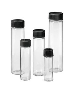 Amber Glass Culture Vial With Bakelite Screw Cap Plain Clear Glass - 7771, 10/15 ml