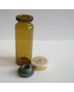 Amber Glass Vial With Rubber Stopper (Amber Color) - 7764 (5 ml)