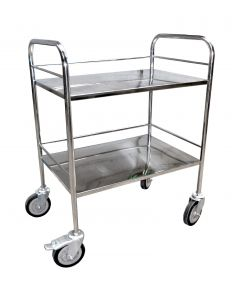 UPL Stainless Steel Intrument Trolley with fixed stainless steel guard rail(760 x 510x910 mm)