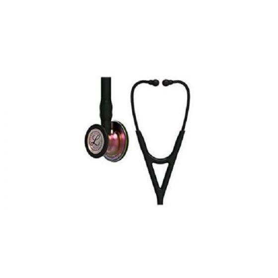 3M Littmann Cardiology IV Diagnostic Stethoscope, Rainbow-Finish Chestpiece, Black Tube, 27 inch, 6165